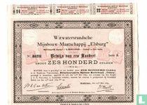 """Witwatersrandsche Mijnbouw-maatschappij """"Elsburg"""", Bewijs van een aandeel f 600,=, 1889"""