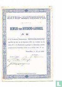 Rijtuig-Maatschappij, Bewijs van Dividend-aandeel, 1881