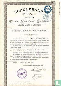 Gemeente Borkel en Shaft, Schuldbrief groot Twee Honderd Gulden, 1892