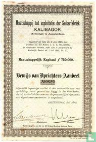 Maatschappij tot exploitatie der suikerfabriek KALIGABOR, Bewijs van oprichters-aandeel, 1890