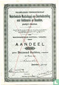 Nederlandsche Maatschappij van Zekerheidsstelling voor Ambtenaren en Beambten, Aandeel Duizend Gulden, 1891