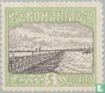 Troepen bij het oversteken van de Donau