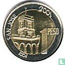 "Argentinië 1 peso 2001 (geribbelde rand) ""200th anniversary Birth of General Urquiza"""
